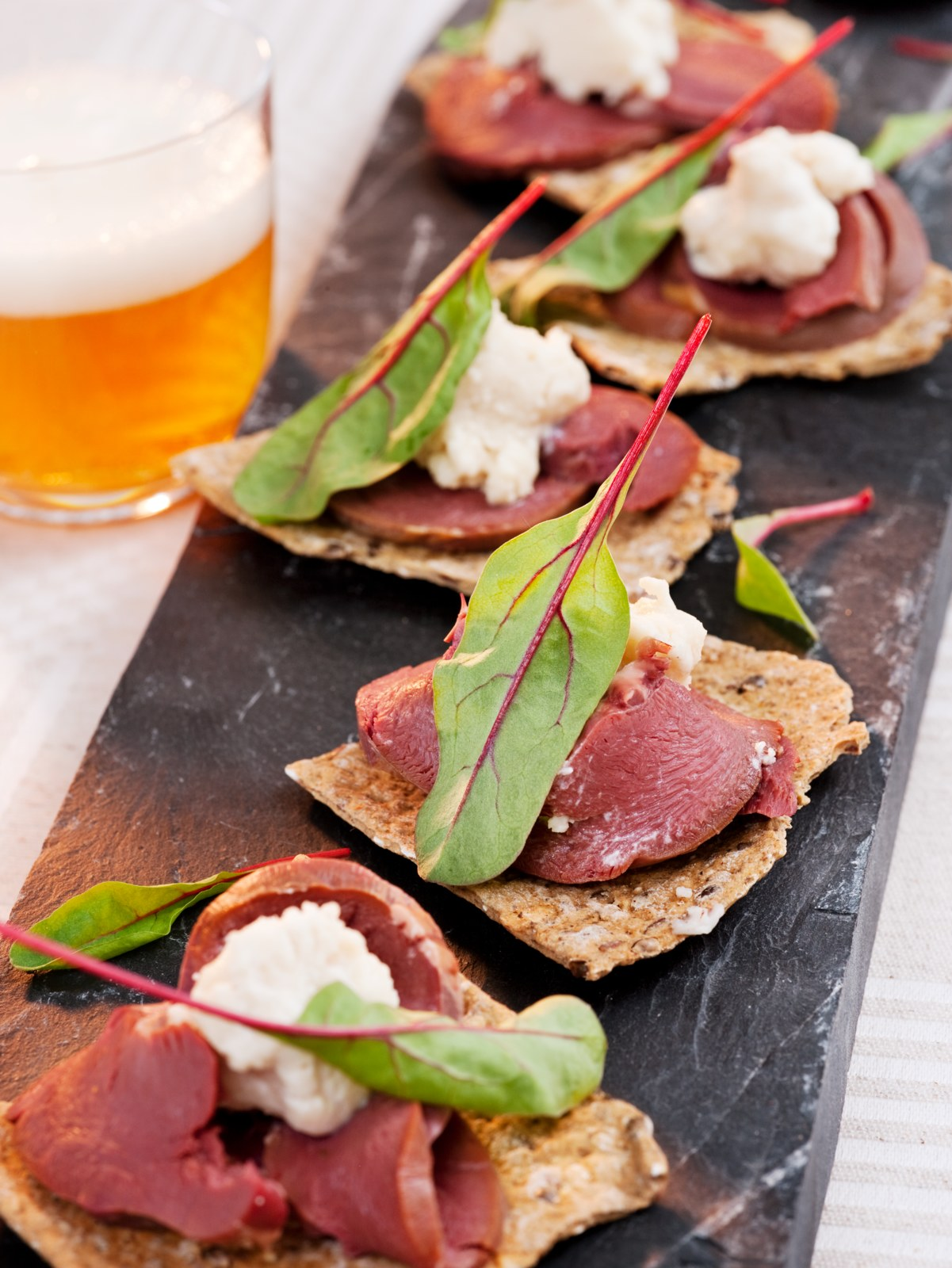 Smoked reindeer heart on flat bread